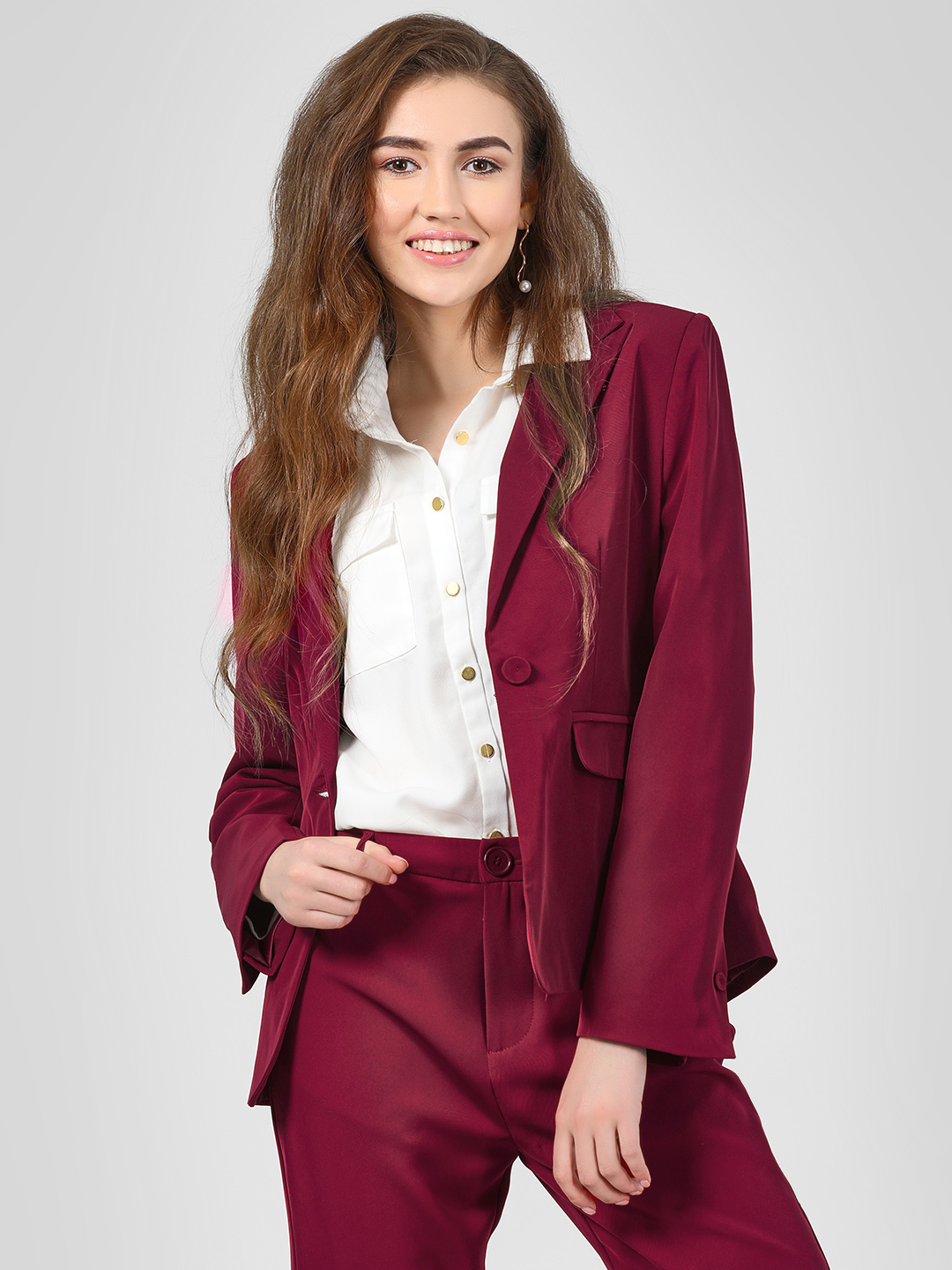 Cover Story Wine Lapel Collar Single Breasted Blazer 1