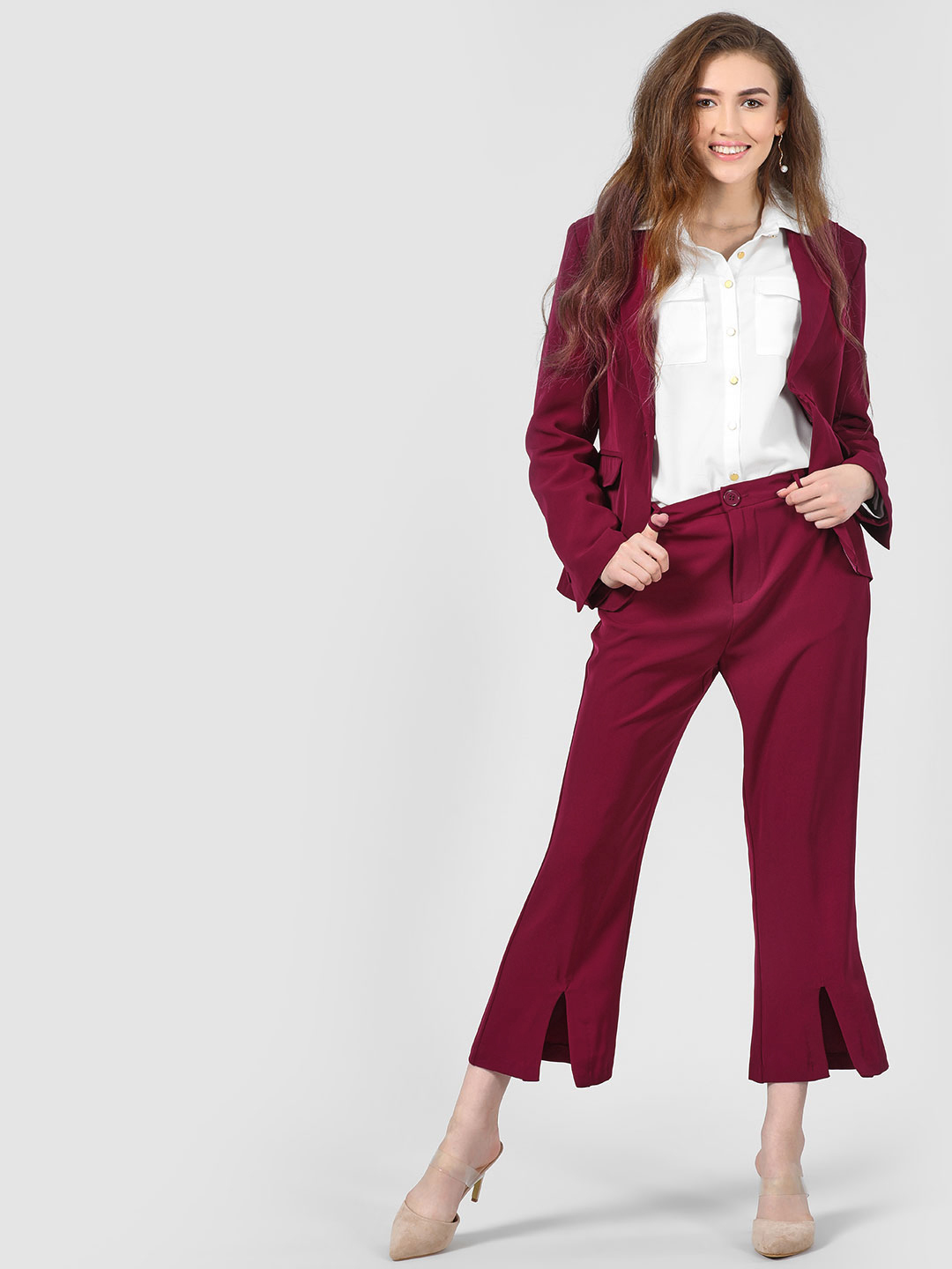 Cover Story Wine Plain Wine Colour Smart Trouser 1