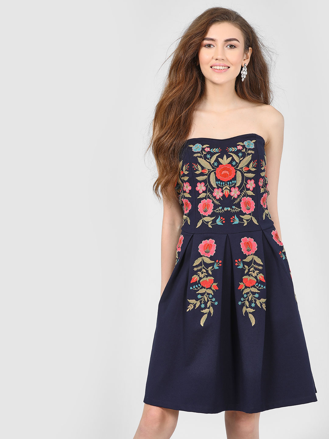 Cover Story Navy Floral Embroidered Bandeau Dress 1