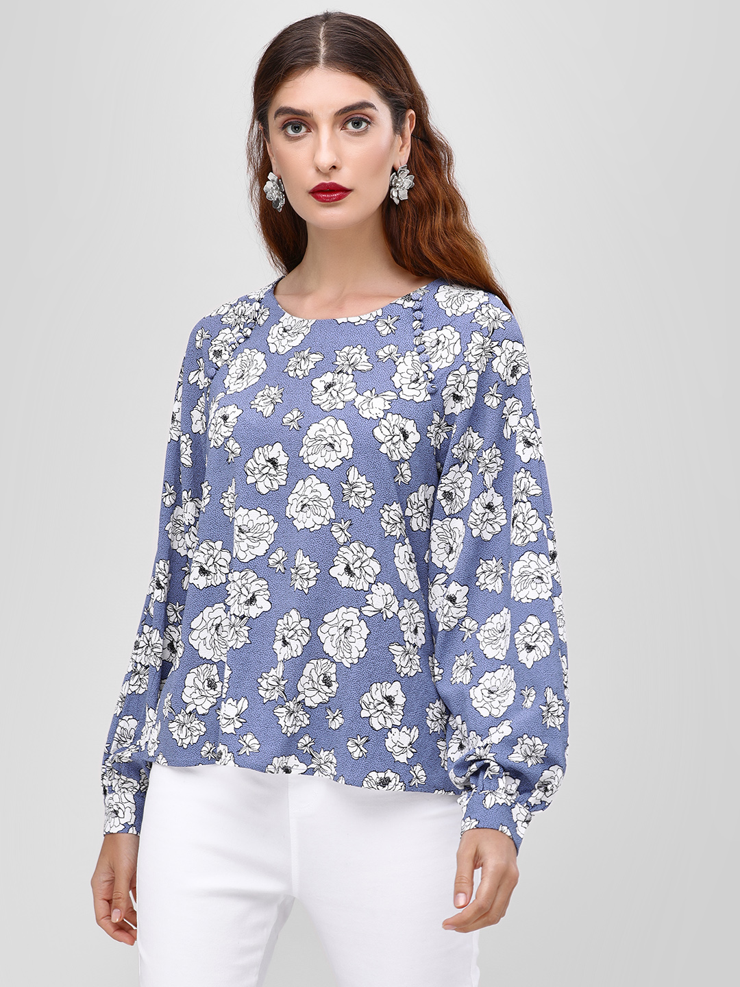 Cover Story Print Floral Printed Long Sleeve Blouse 1