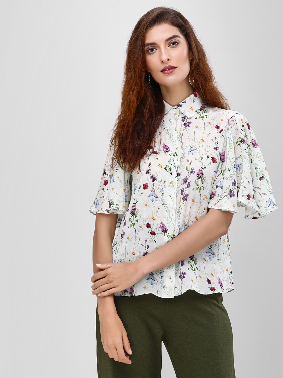 Cover Story Print Flared Sleeve Floral Print Shirt 1