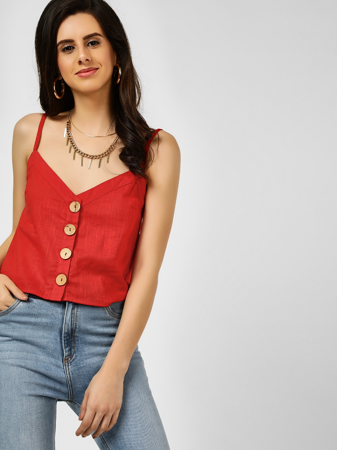 KOOVS Red Sleeveless Strappy Top 1