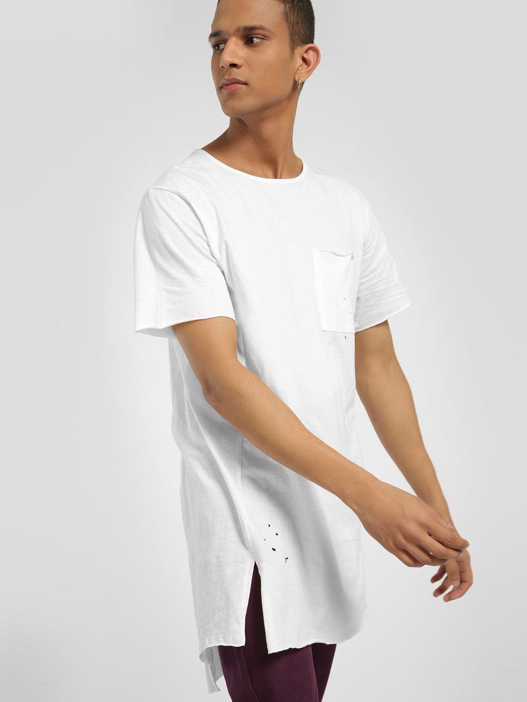 KOOVS White Distorted Longline Fit T-Shirt 1