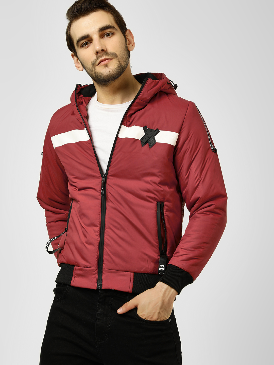 Fort Collins Maroon Striped Hooded Bomber Jacket 1