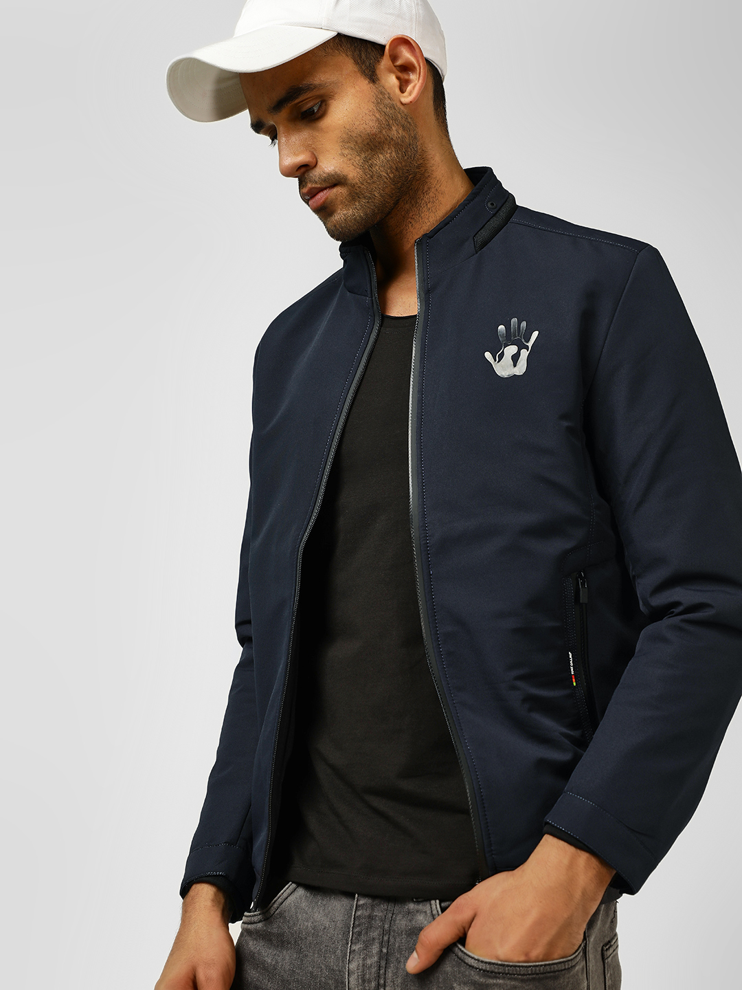 Fort Collins Navy Reflective Patch Detail Lightweight Jacket 1