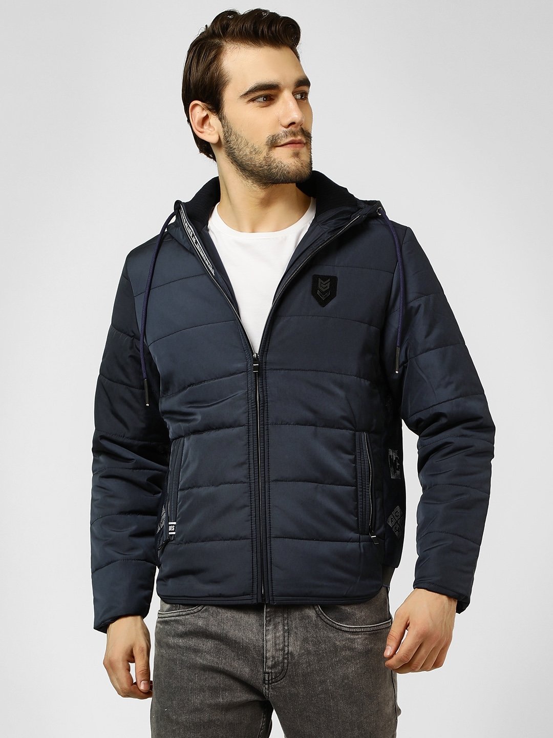 Fort Collins Navy Lightweight Quilted Hooded Jacket 1