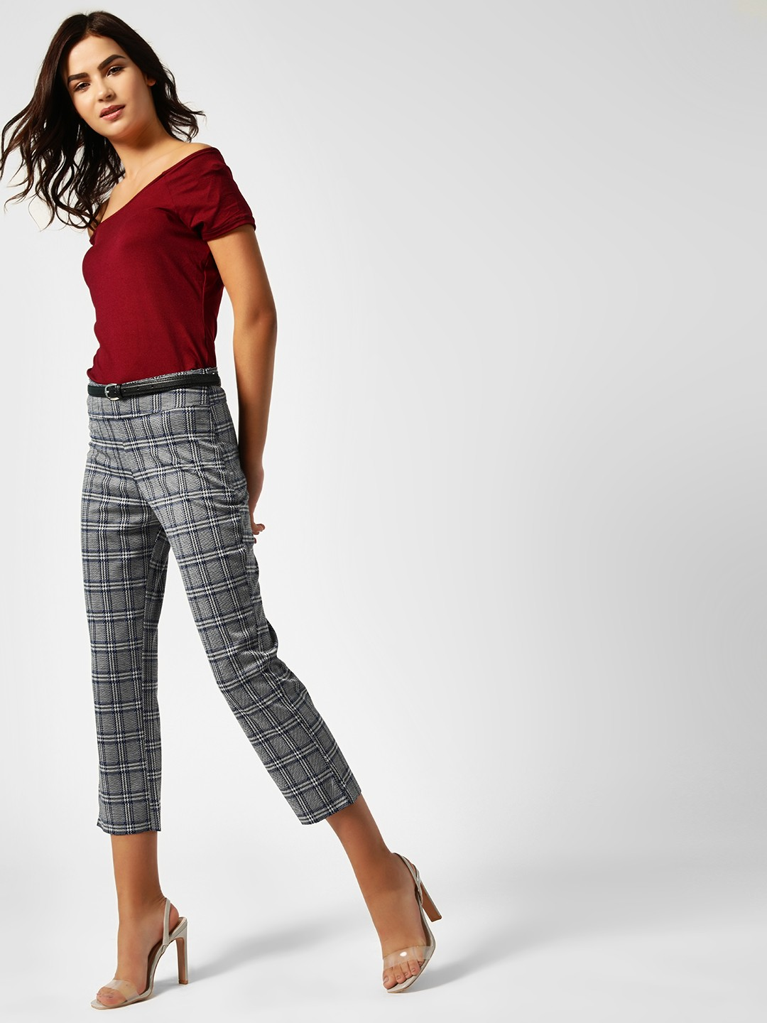 AND Grey Checkered Slim Fit Cropped Trousers 1