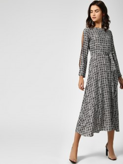 AND Monochrome Printed Midi Dress