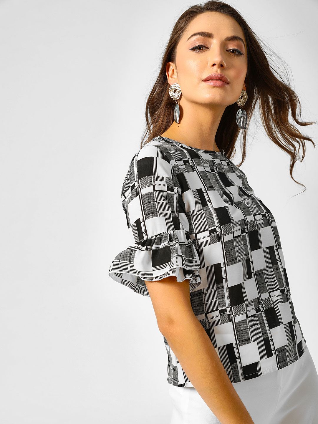 AND Multi Check Print Frilled Sleeve Blouse 1