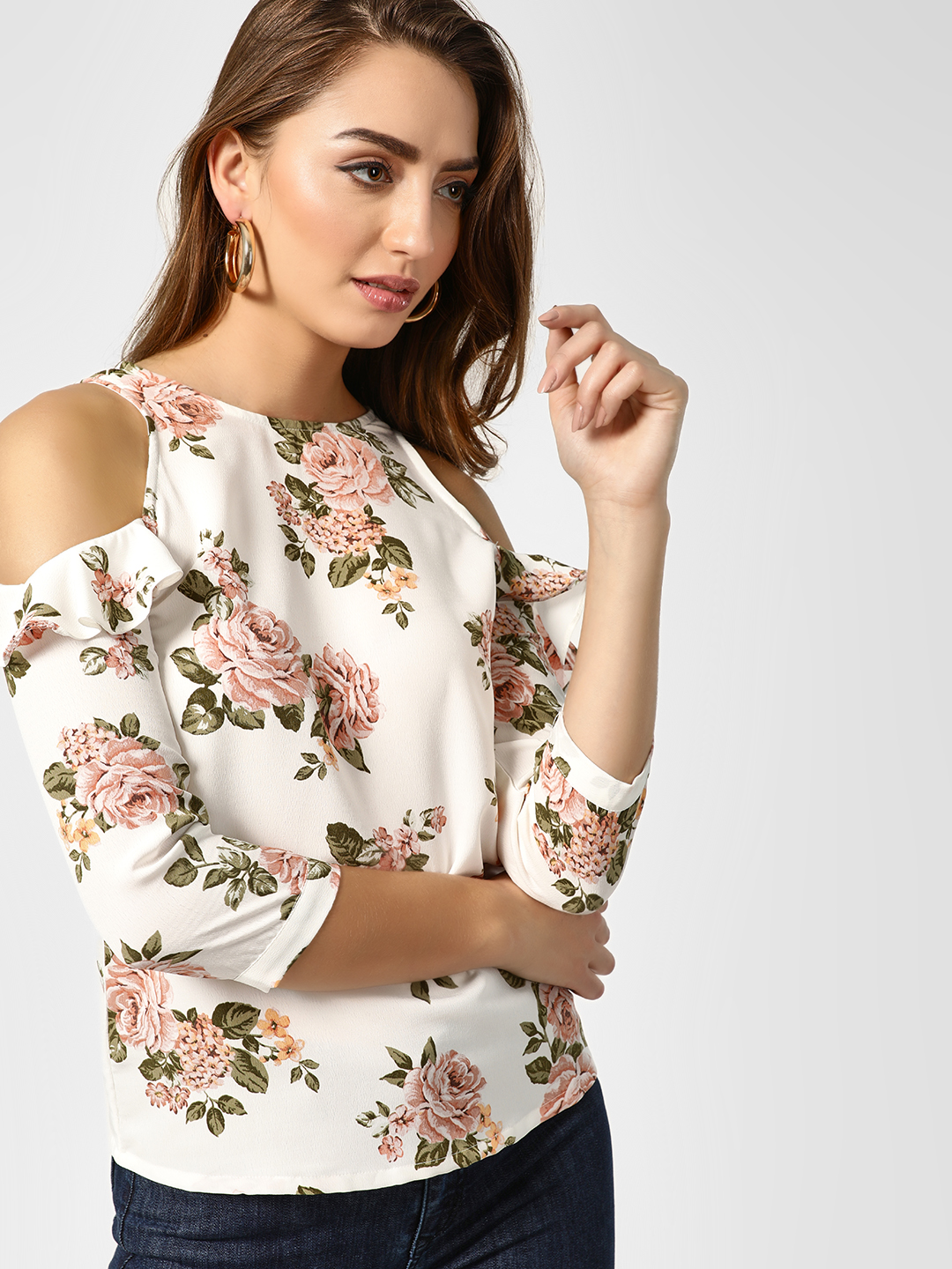 AND Multi Floral Printed Cold Shoulder Top 1