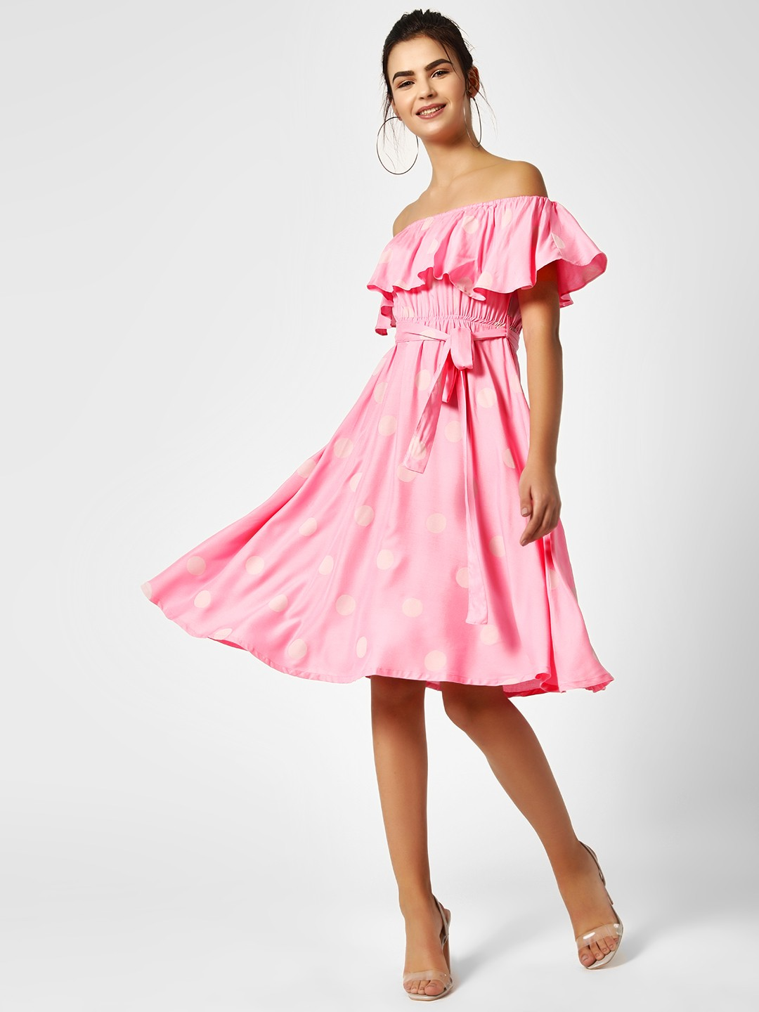 AND Pink Polka Off-Shoulder Dress 1