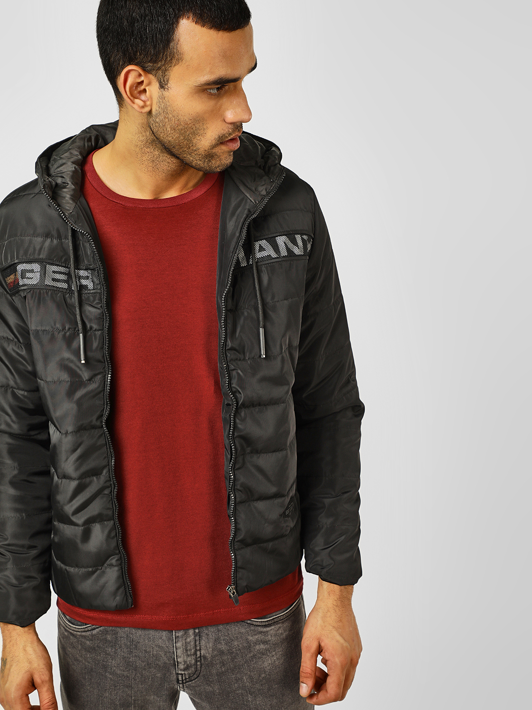 Fort Collins Black Lightweight Quilted Hooded Jacket 1