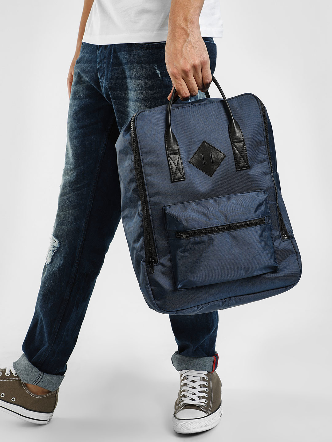 KOOVS Blue Zipper Pocket Backpack 1