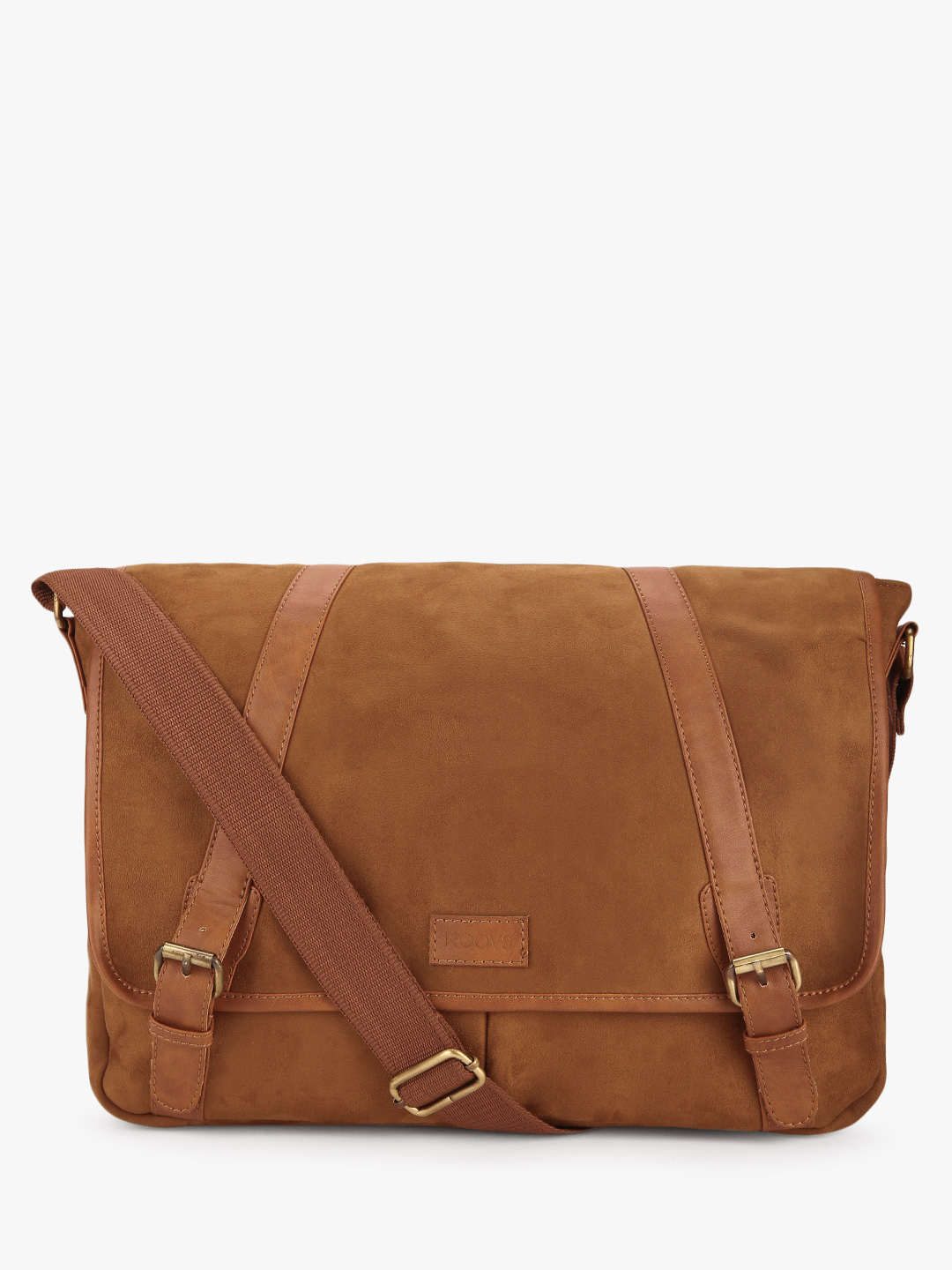 KOOVS Brown Suede Finish Laptop Bag 1