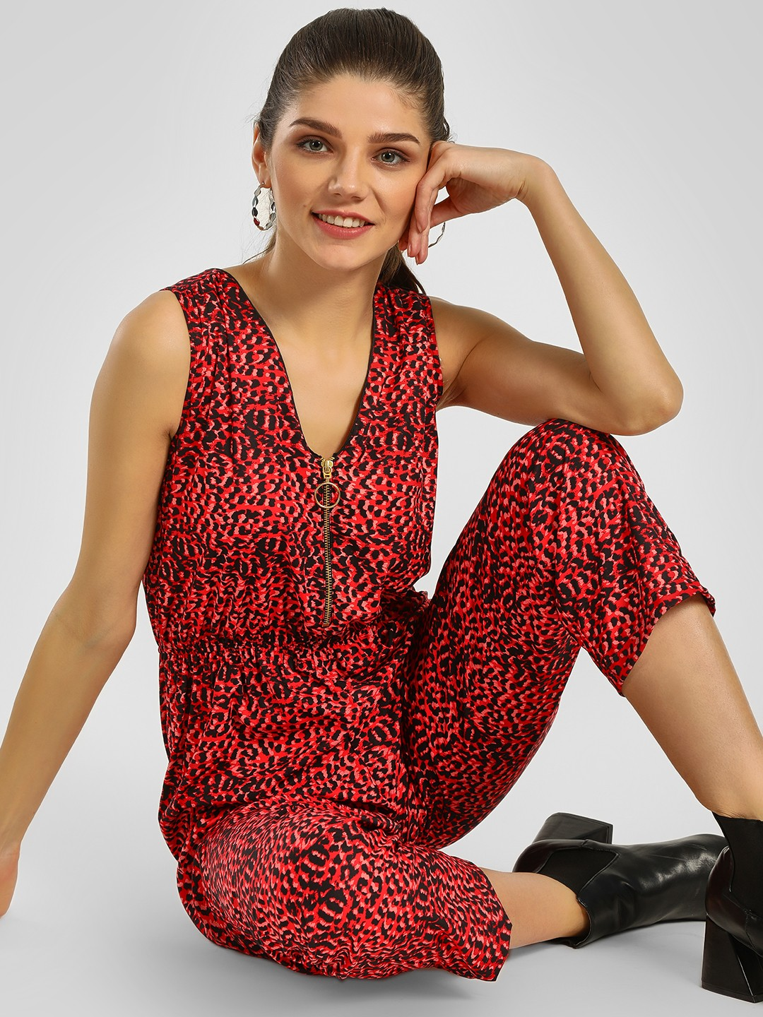 KOOVS Multi Leopard Print Sleeveless Jumpsuit 1