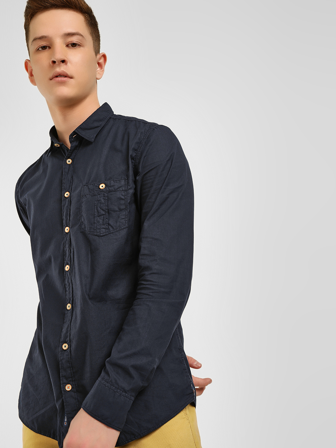 SCULLERS Navy Long Sleeve Casual Shirt 1