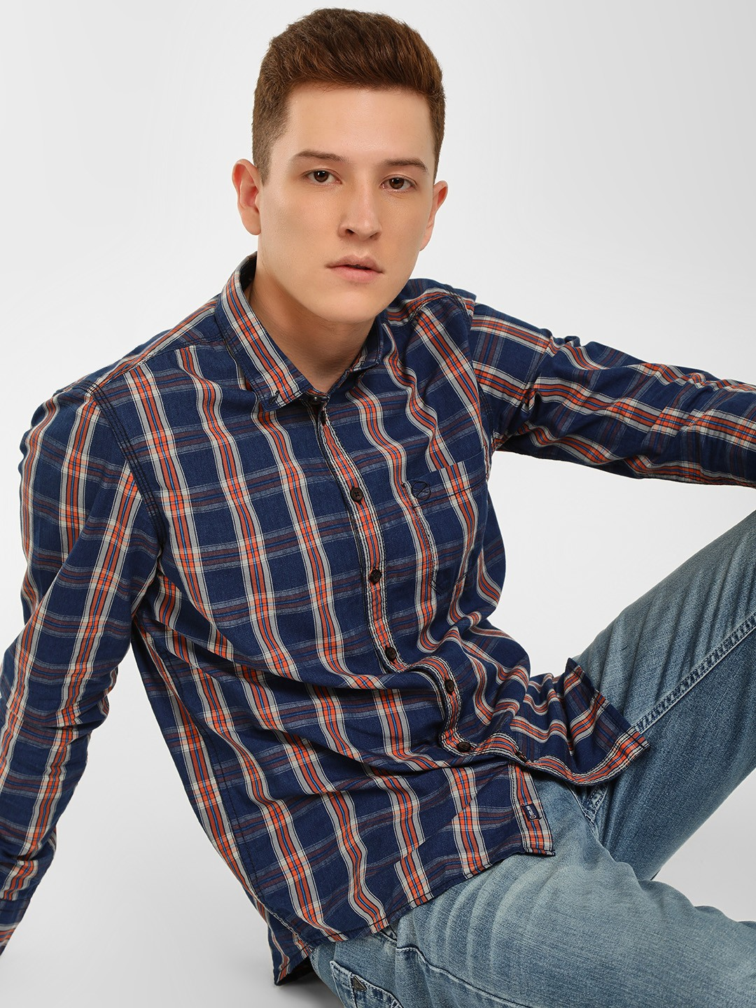 SCULLERS Blue Checkered Slim Fit Shirt 1