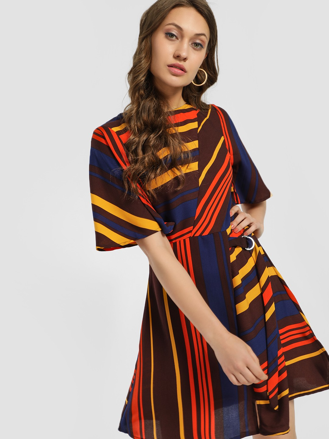 KOOVS Multi Mixed Stripe Skater Dress 1