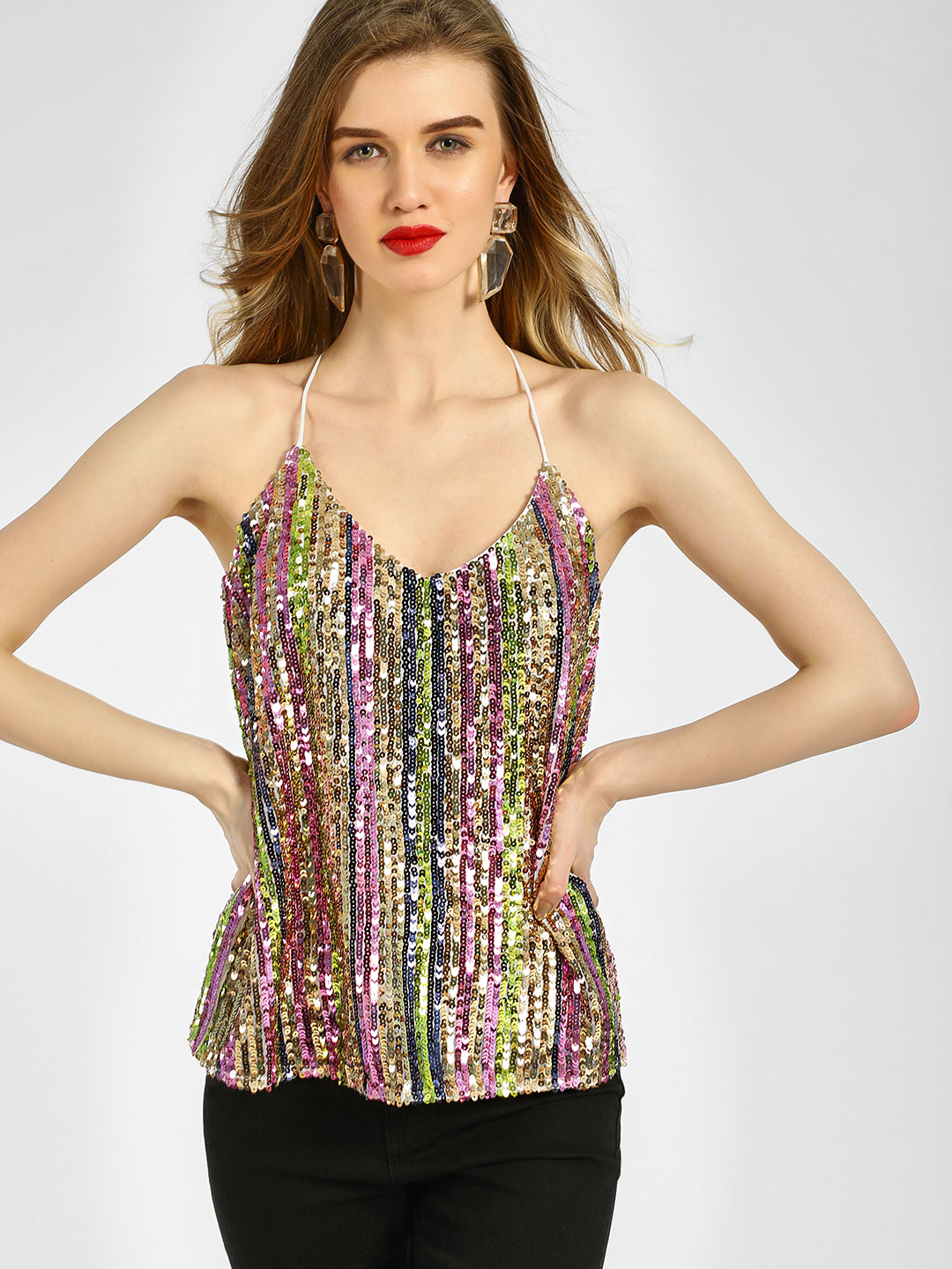 KOOVS Multi All Over Sequin Cami Top 1