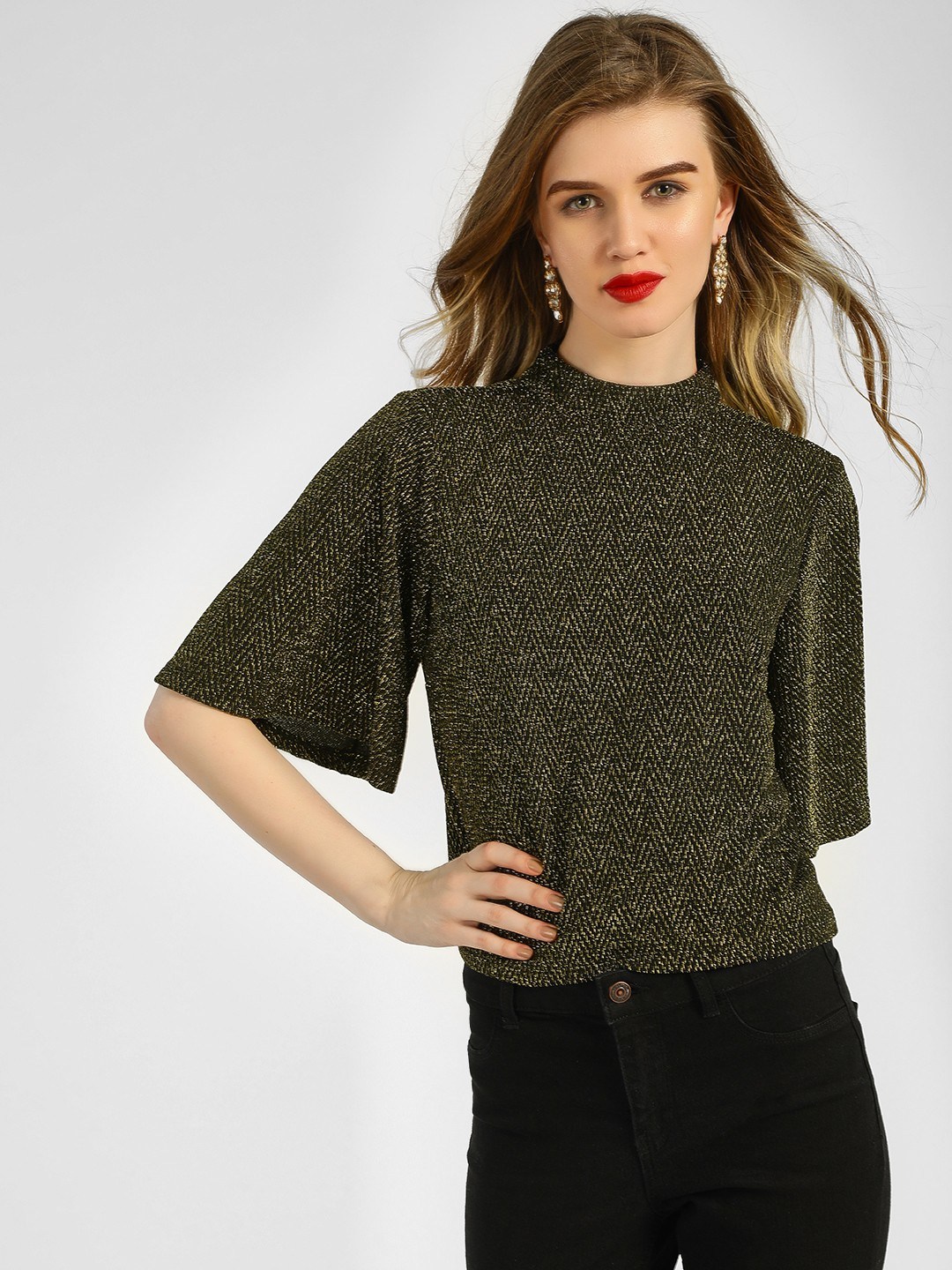KOOVS Golden Metallic Flared Sleeve Top 1