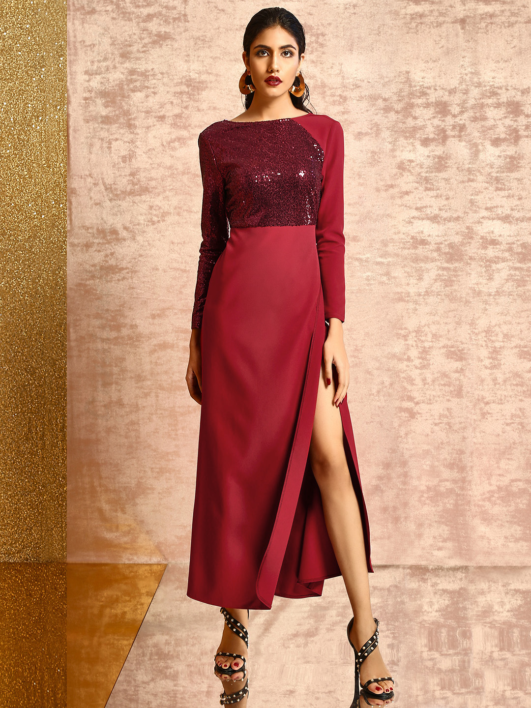KOOVS Maroon Sequin Blocked Maxi Dress 1