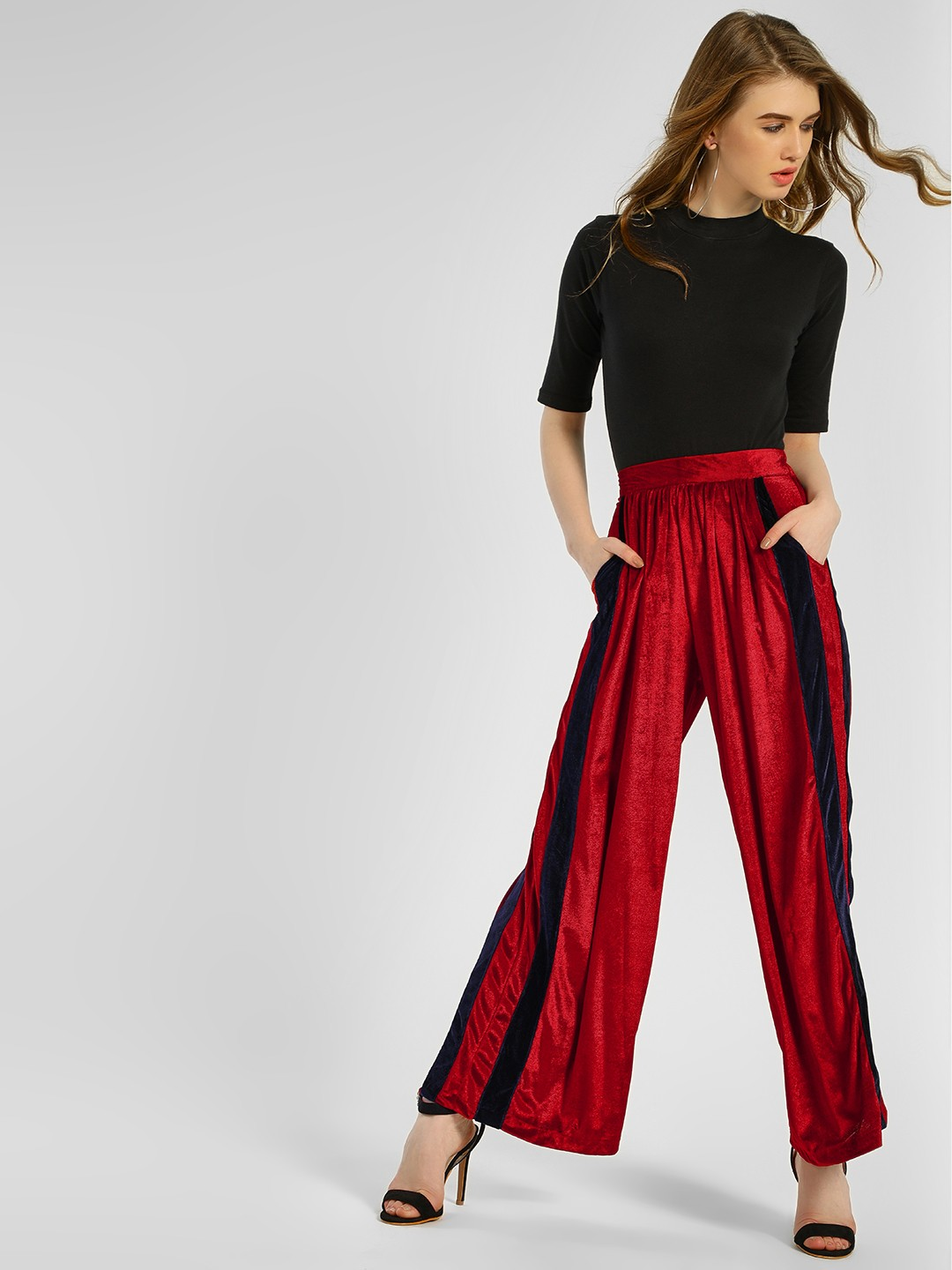 Spring Break Maroon Velvet Side Tape Palazzo Pants 1