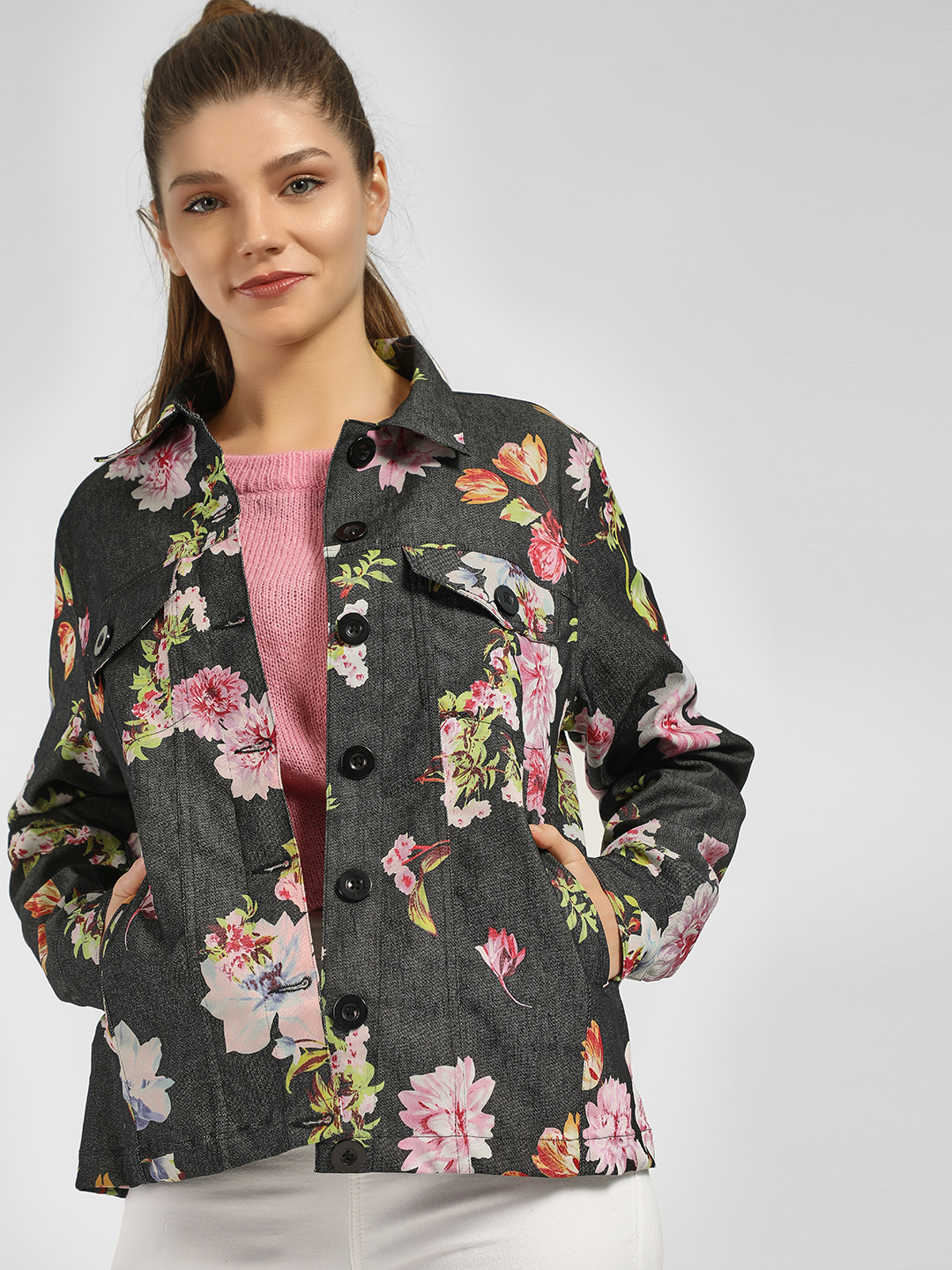 Spring Break Multi Floral Long Sleeve Jacket 1