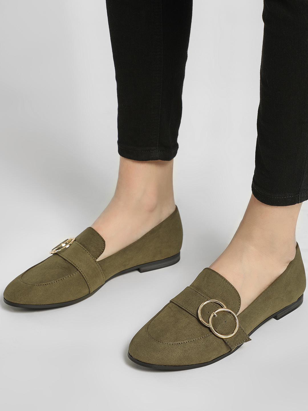 New Look Green Buckle Detail Flat Shoes 1