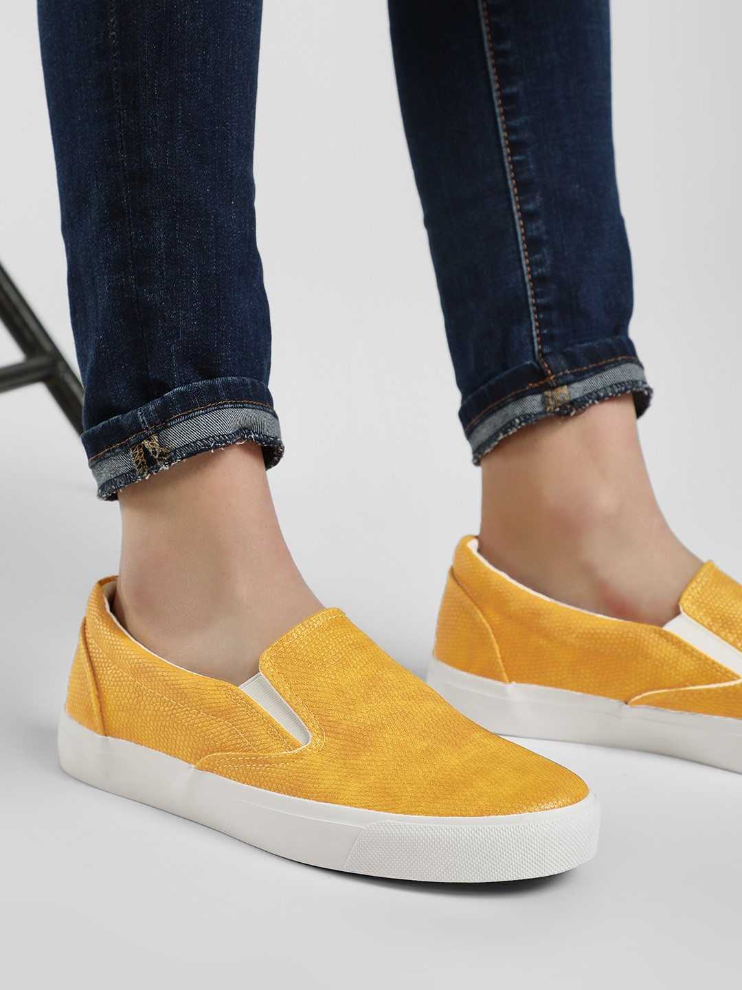 New Look Yellow Textured Contrast Flat Sole Shoes 1