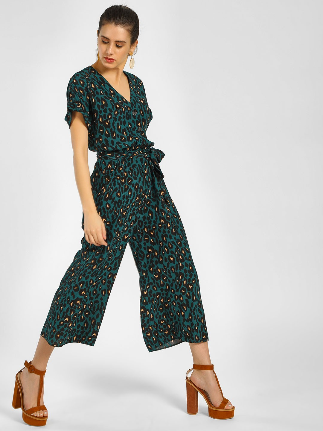 New Look Green Leopard Print Tie-Up Jumpsuit 1