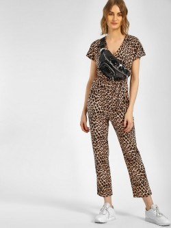 New Look Leopard Print Tie-Up Jumpsuit