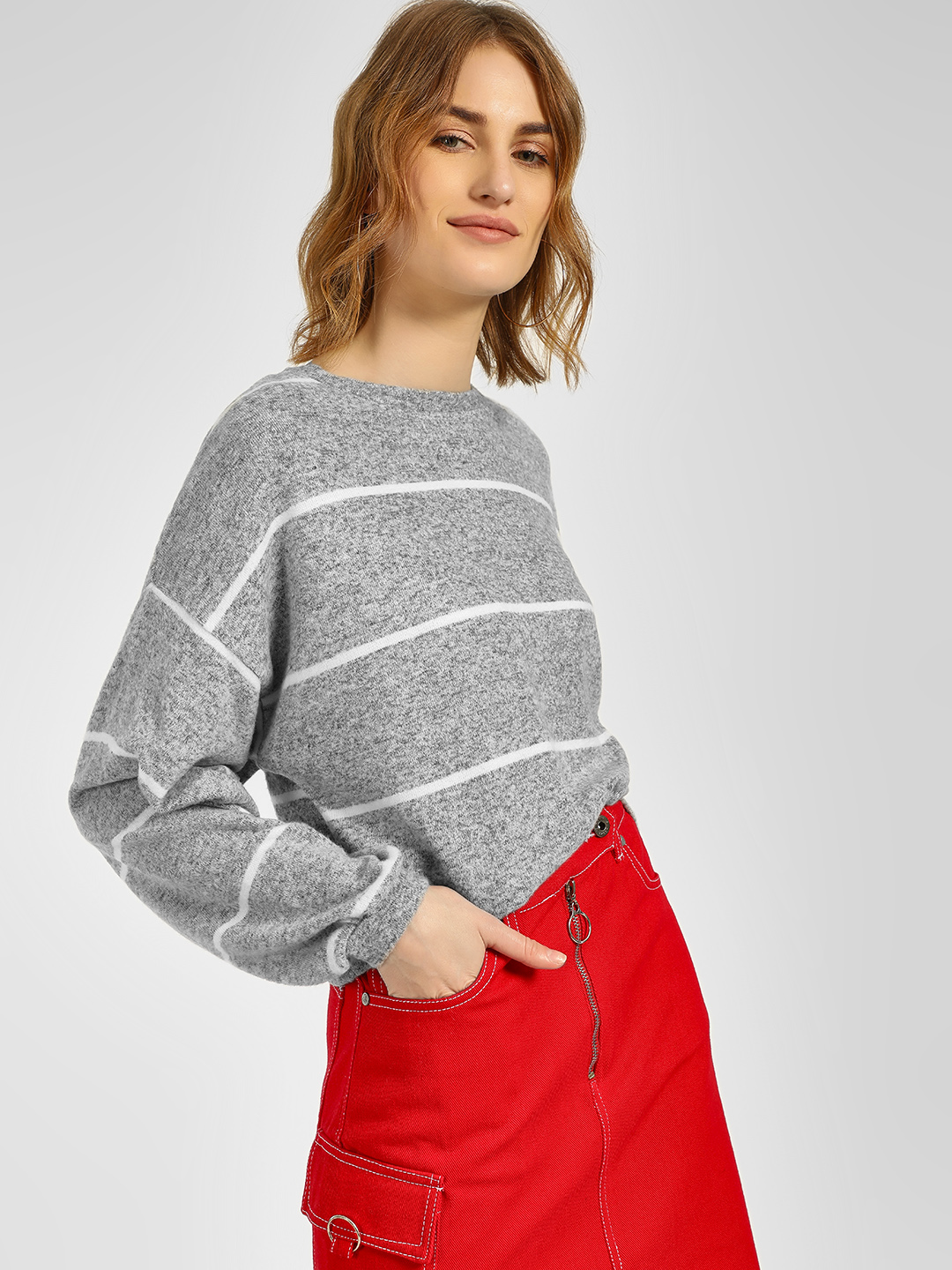 New Look Grey Striped Long Sleeve Pullover 1