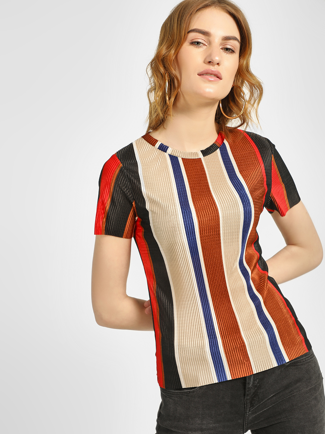 New Look Multi Striped Plisse Top 1