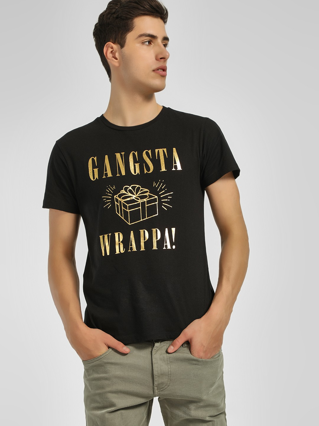 KOOVS Black Gangsta Wrappa Christmas Slogan T-Shirt 1