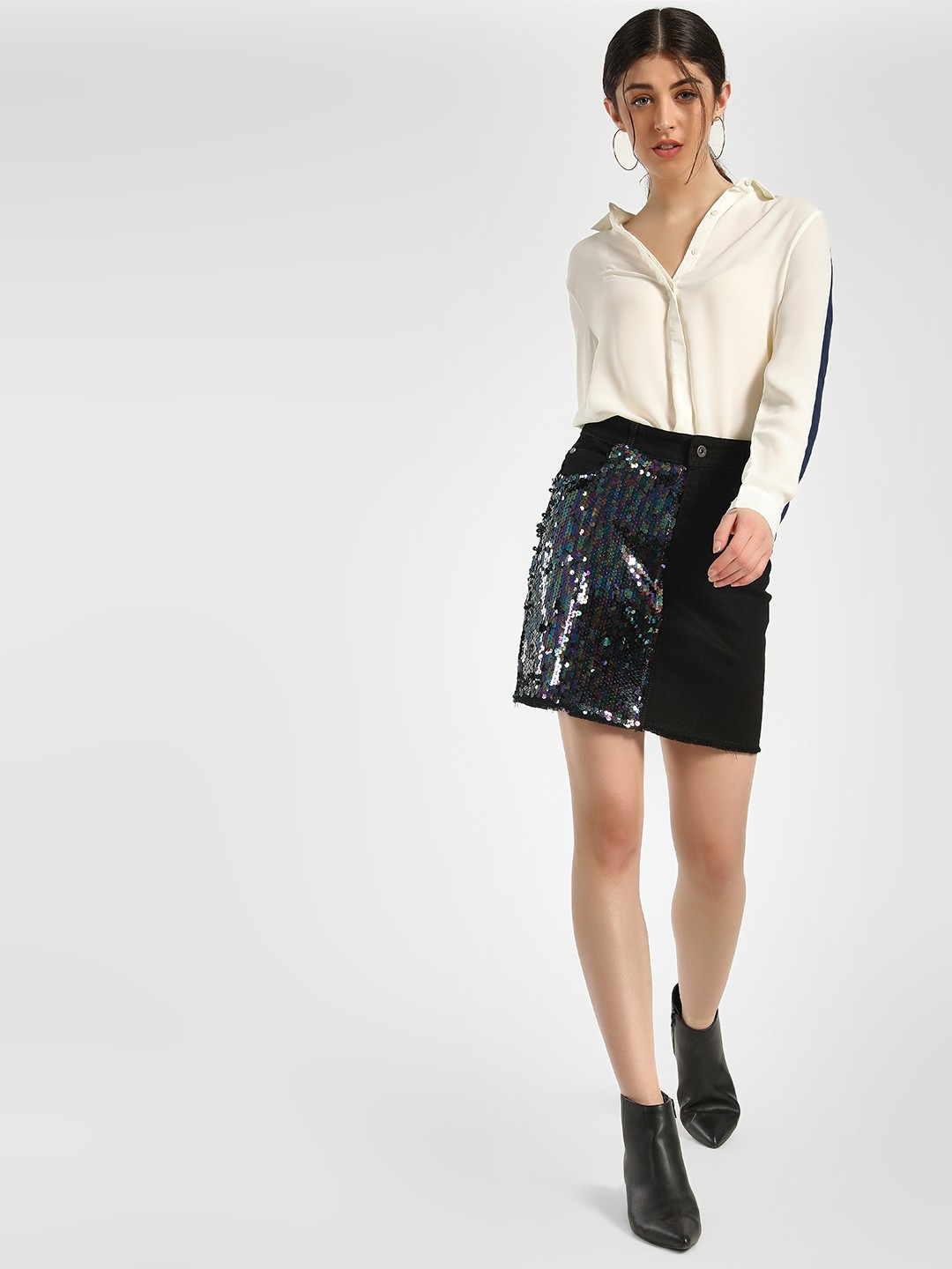 K Denim Black KOOVS Half Sequin Mini Skirt 1