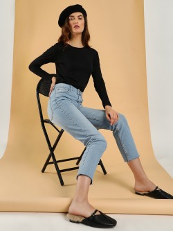 Sbuys Light Wash Cropped Slim Jeans