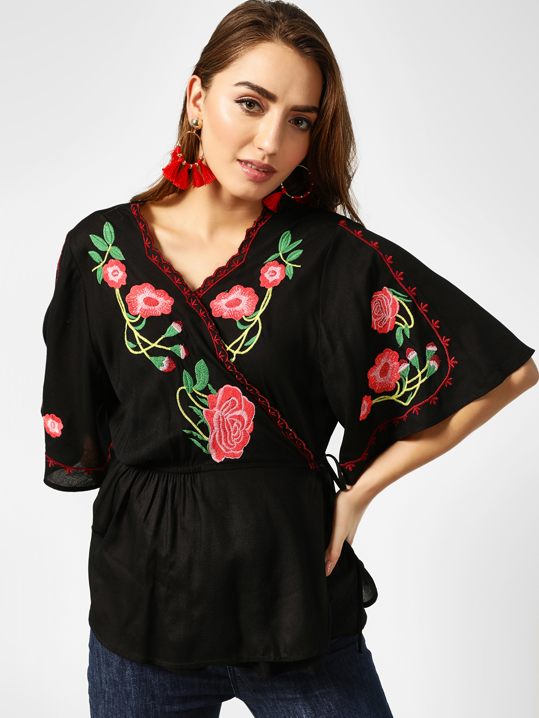 Kisscoast Black Floral Embroidered Wrap Top 1