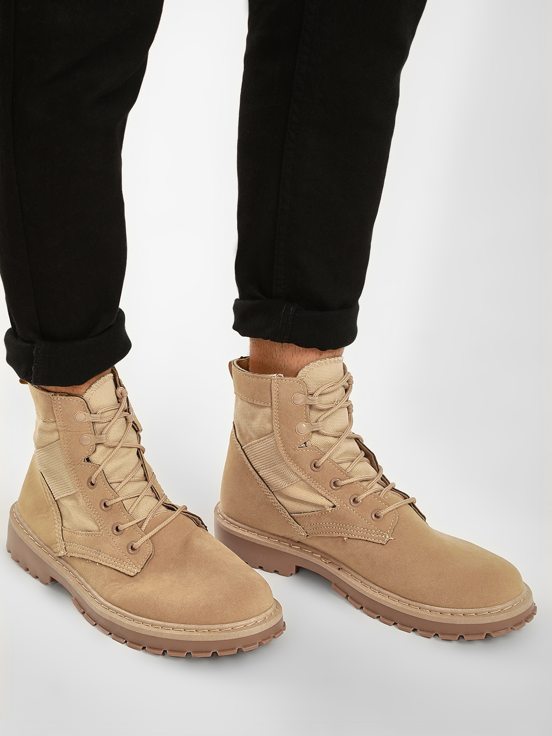 KOOVS Beige Suede Lace-Up Boots 1