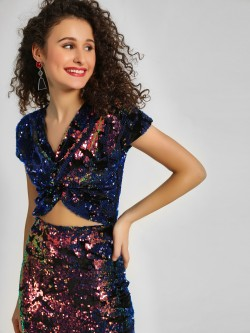 KOOVS Sequin Crop Top