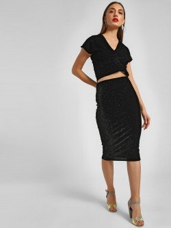 KOOVS Glitter Pencil Midi Skirt