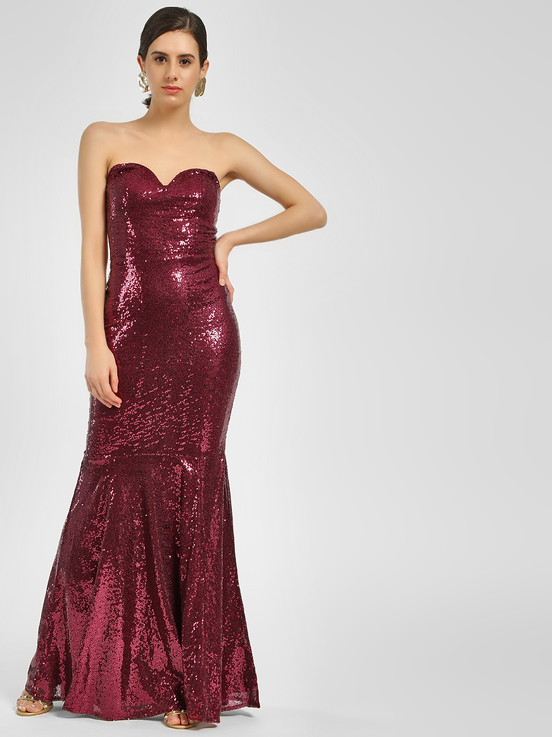 KOOVS Maroon Sequined Fishtail Maxi Dress 1