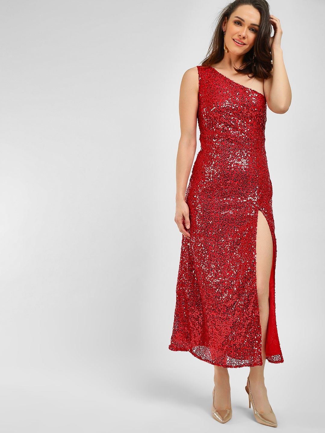 KOOVS Red One Shoulder Sequin Maxi Dress 1