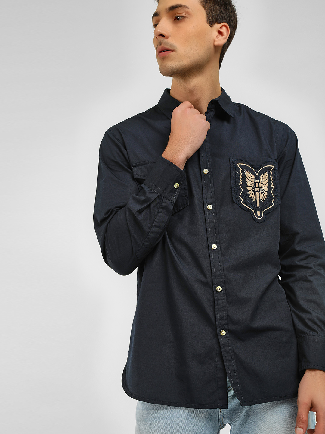 Noble Faith Navy Embroidered Badge Detail Casual Shirt 1