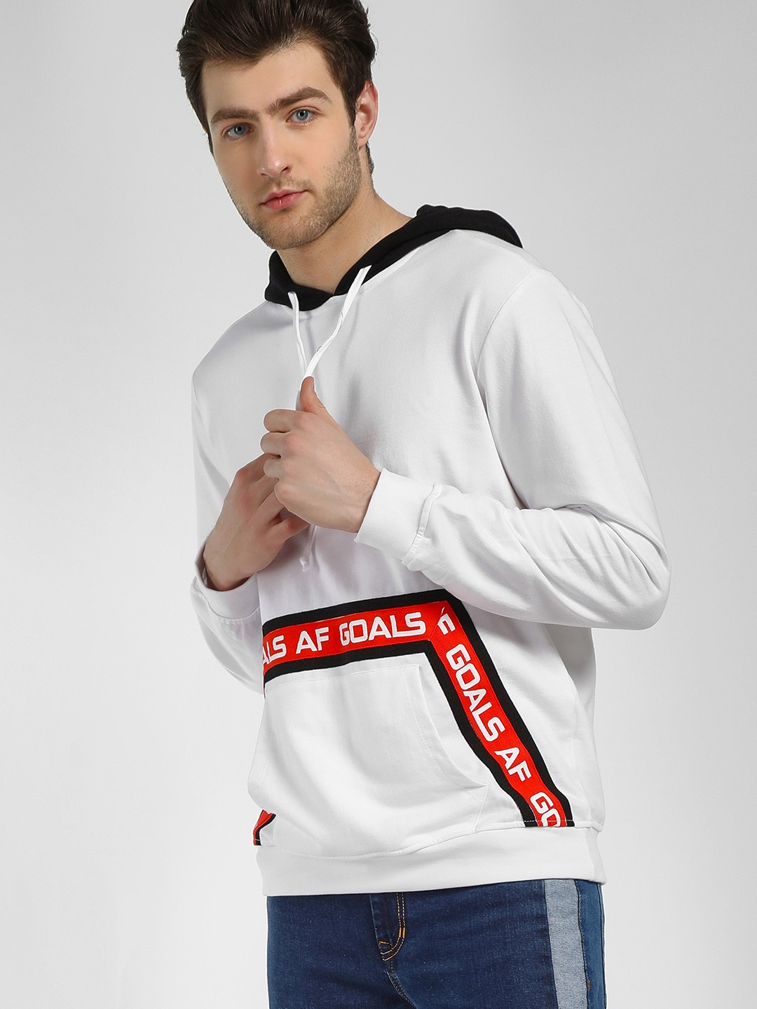 Noble Faith White Contrast Slogan Tape Hoodie 1
