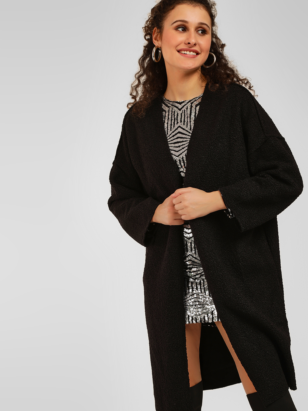 Origami Lily Black Fluffy Woven Overcoat 1