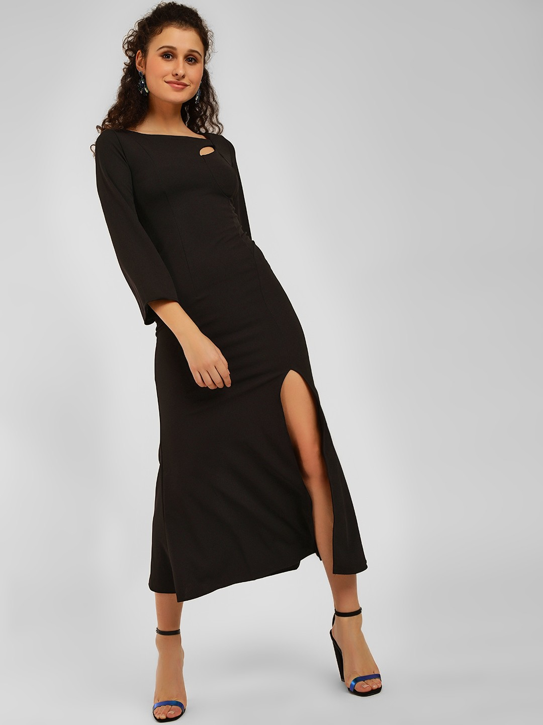 Origami Lily Black High Slit Maxi Dress 1