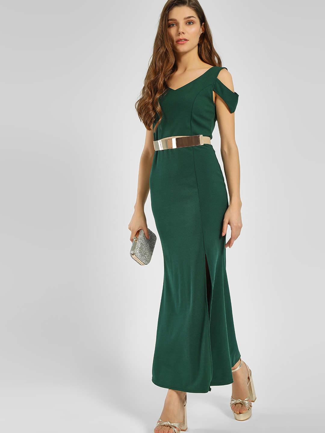 Origami Lily Green High Slit Maxi Dress 1