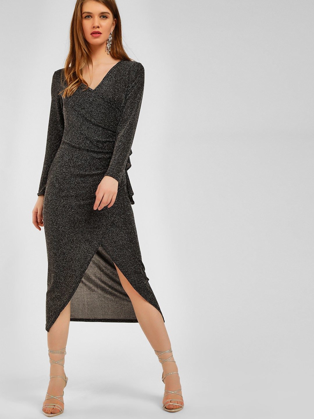 Origami Lily Silver Shimmer Ruched Midi Dress 1