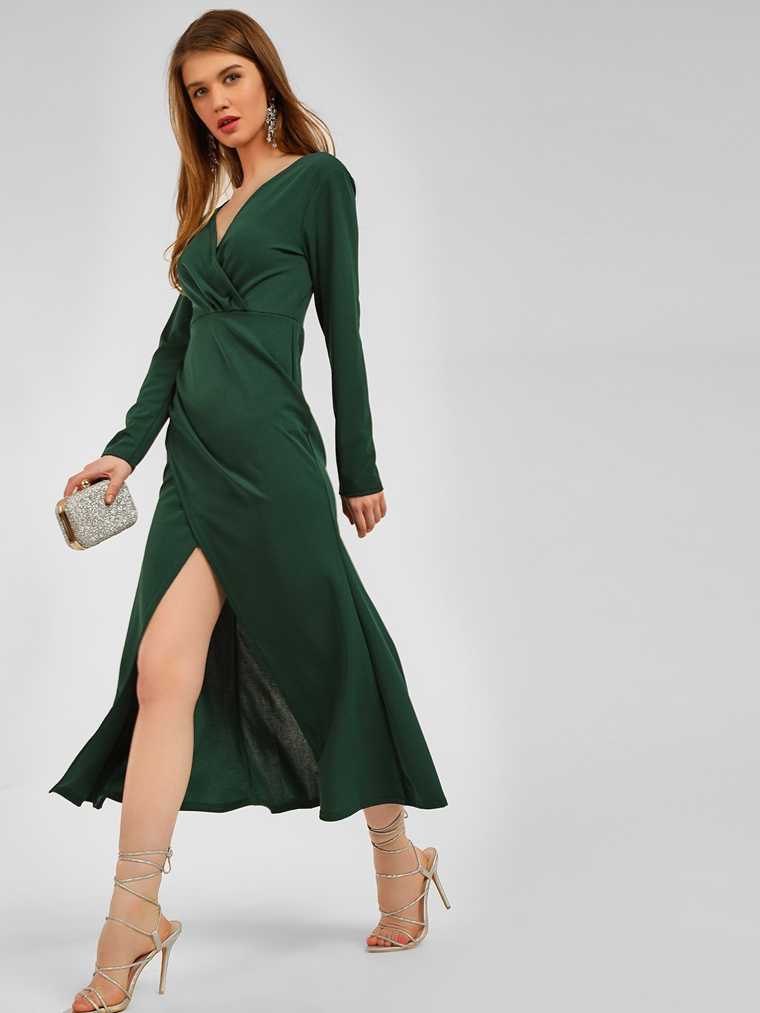 Origami Lily Green Front Wrap Midi Dress 1