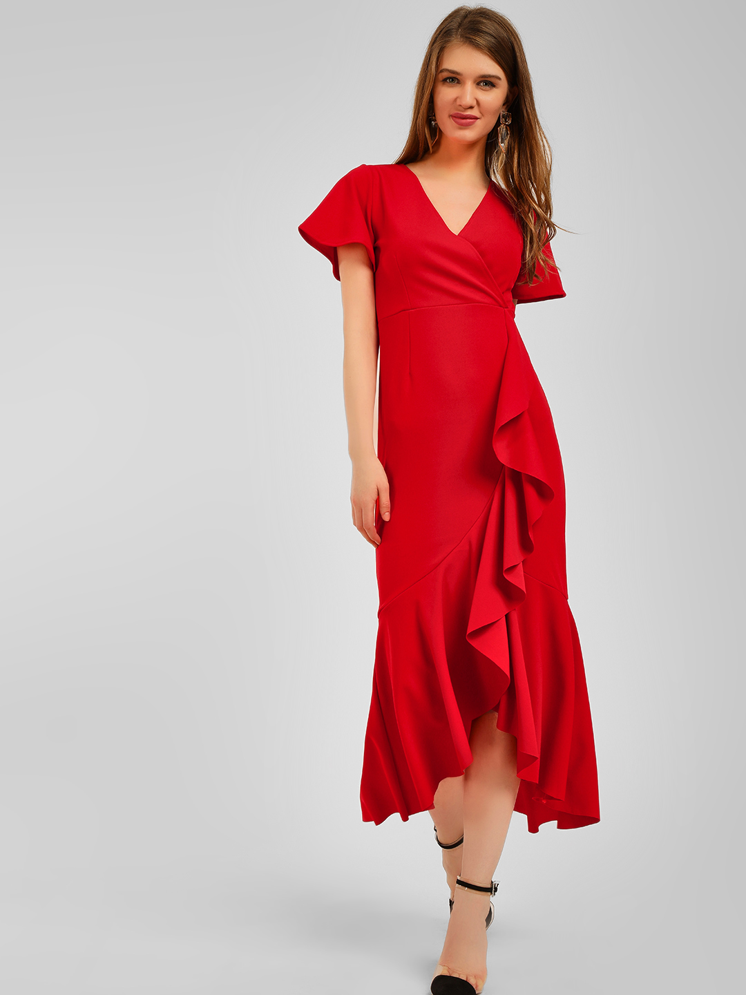 Origami Lily Red Wrap Front Frill Midi Dress 1